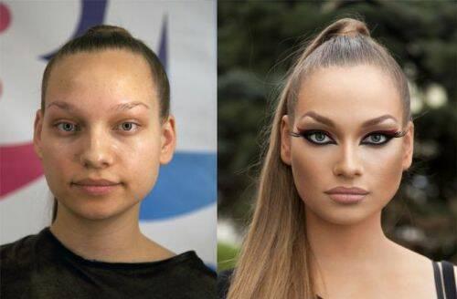mujer maquillada y sin maquillaje 2