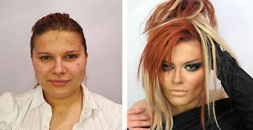 mujer maquillada y sin maquillaje 4