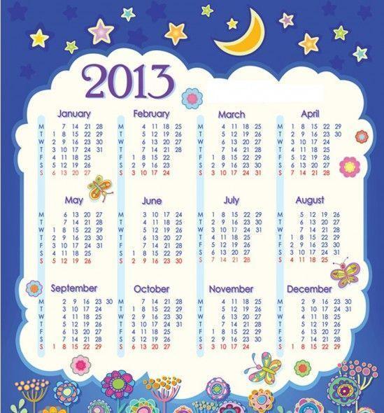 Calendario con Flores y Estrellas