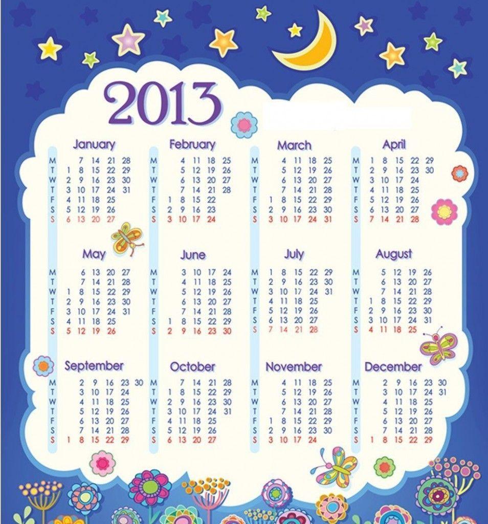 Calendario del 2013 con Flores y Estrellas