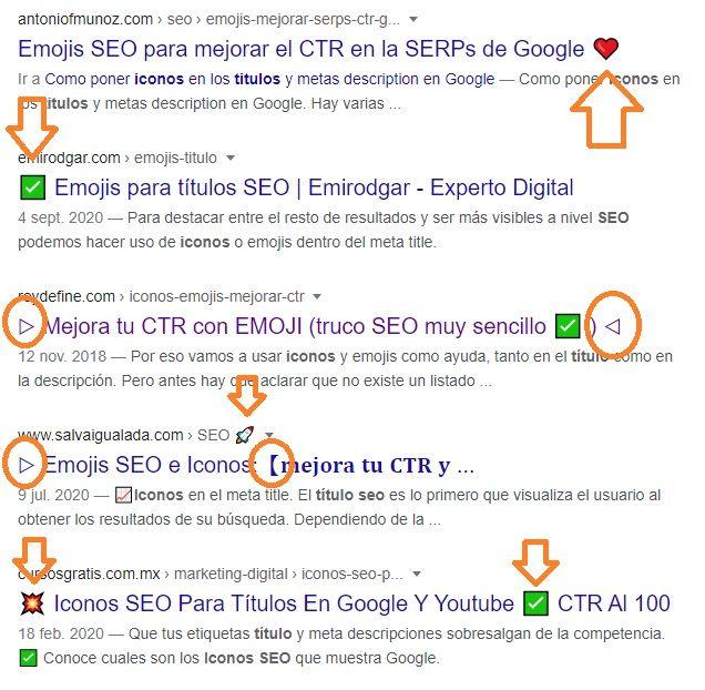 Iconos En Titulo Y Descripcion De Google